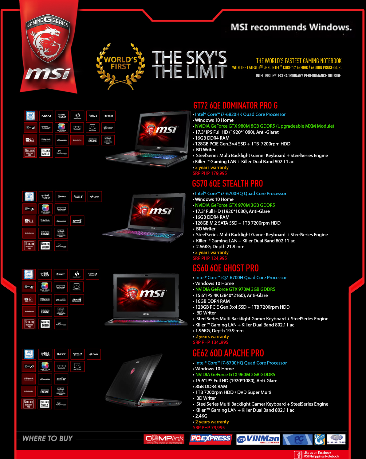 Msi Philippines Gt72s 6qf Dominator Pro G Gaming Laptop Dragon Edition Notebooks With The Latest Intels 6th Gen Skylake Processors Available On Authorized Resellers Nationwide